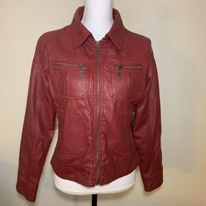 Last Kiss faux leather jacket fitted wine color